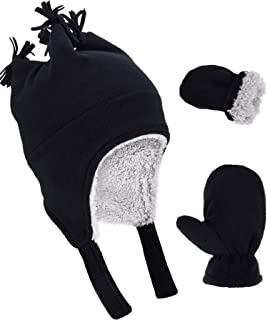 Boao 3 Pieces Toddler Baby Winter Set,  Micro Fleece Hat Baby Knit Hat Boys Mitten Gloves