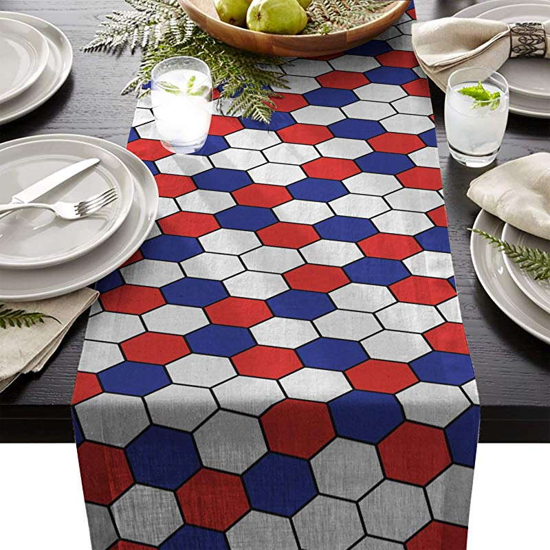Linen Burlap Table Runner 13x90 Inch Independence Day Blue Red White Hexagon Pattern Flag Color Farmhouse Table Cloth Dresser Scarf For Holiday Parties Dining Room Home Kitchen Events Decor