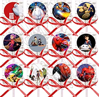DJz Dealz Big Hero 6 Lollipops Movie Party Favors Supplies Baymax Decorations Lollipops with Red Ribbon Bows Party Favors -12 pcs, Party