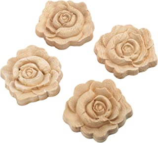 4pcs 7x7cm Wood Carved Corner Onlay Applique Door Cabinet Rose Unpainted European Style