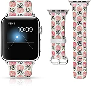 LAACO Leather Band Compatible with iWatch SE Series 6 42mm 44mm, Genuine Leather Printed Vintage Replacement Strap Classic Bands Compatible with Apple Watch 6/5/4/3/2/1 Pink Pineapple