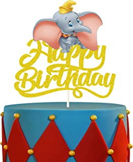 LYNHEVA Gold Glitter Dumbo Cake Topper, Disney Elephant Dumbo Inspired Cake Topper, Dumbo Circus Theme Birthday Party Supp...