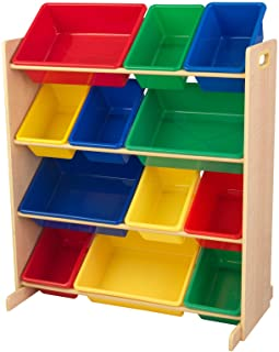 KidKraft 16774 Etagère de rangement, chambre enfant, meuble incluant 12 casiers en plastique interchangeables - couleurs p...