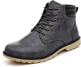 MAIAMY Bottes en Cuir pour Hommes Chaussures de Travail légères pour Affaires de Plein air à Lacets Bottines à Lacets Chau...