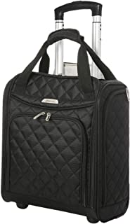 Aerolite Carry On Under Seat Wheeled Trolley Luggage Bag for American Airlines, Delta and South West, Black