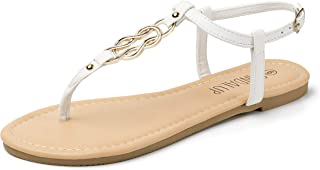 Thong Flat Sandals with Ring Metal Buckle for Women Summer