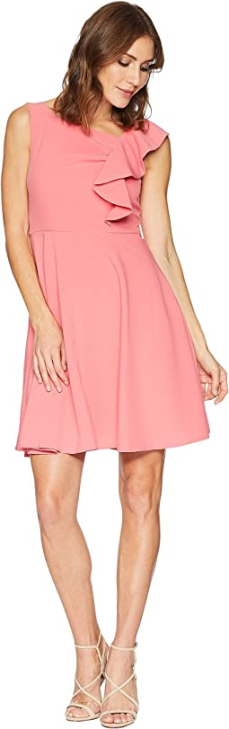 Asymmetrical Ruffle Fit and Flare Dress