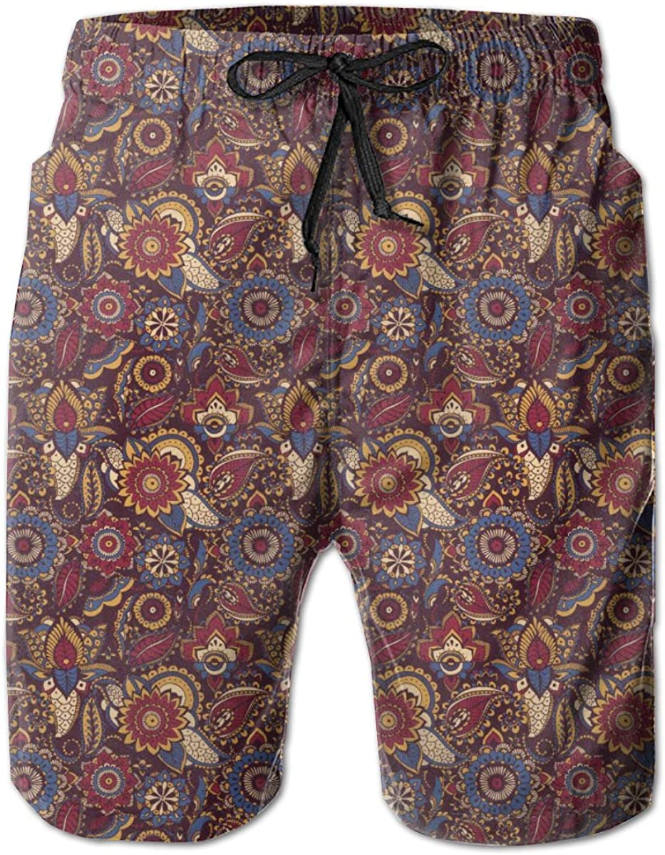 HZamora_H Men Colorful Persian Paisley Summer Breathable Quick-Drying Swim Trunks Beach Shorts Board Shorts