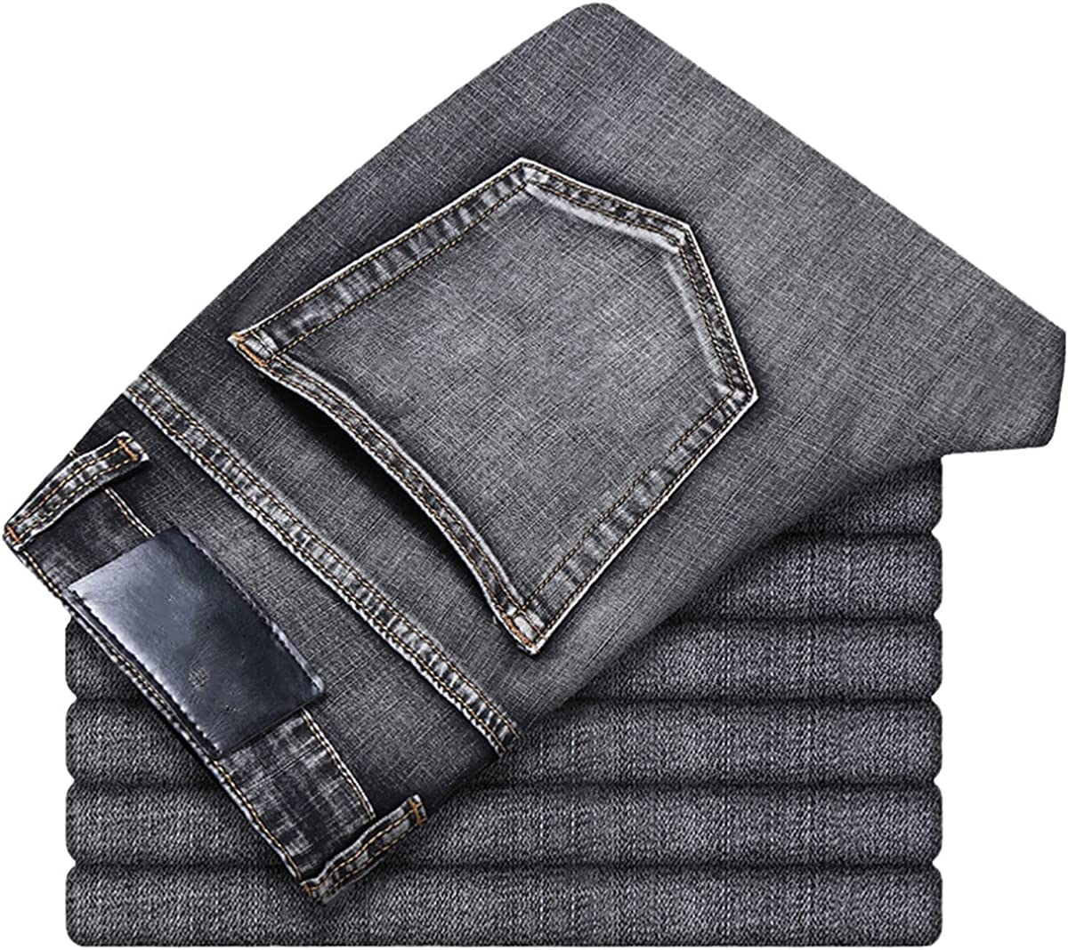Men's Jeans Classic Style Business Casual high-Level Stretch Regular-fit Denim Trousers Blue Pants