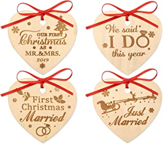 12PCS Our First Christmas Ornament 2019 Mr. and Mrs. Just Married Couples Newlywed Christmas Gift Rustic Wood Ornament Decorations 12PCS