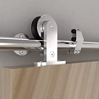 KINMADE Ten Stainless Steel Sliding Barn Door Hardware Kit 5.5FT (1700mm) Track Single Door Kit