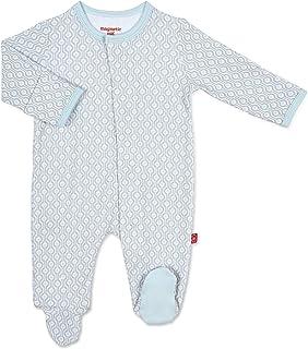 Magnetic Me Footie Pajamas 100% Organic Cotton Baby Sleepwear Quick Magnetic Fastener Sleeper Mod Dot Blue 18-24 Months