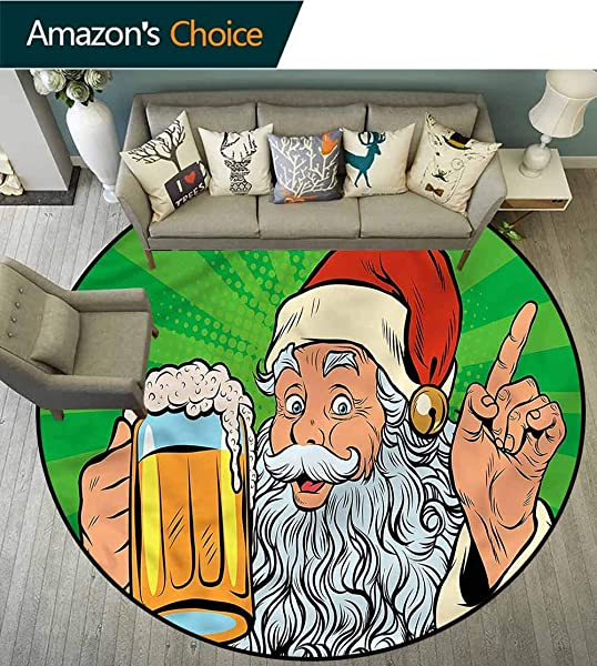 RUGSMAT Man Cave Round Area Rug Ultra Comfy Thick Santa Claus Beer Comic Pattern Floor Seat Pad Home Decorative Indoor Diameter 35