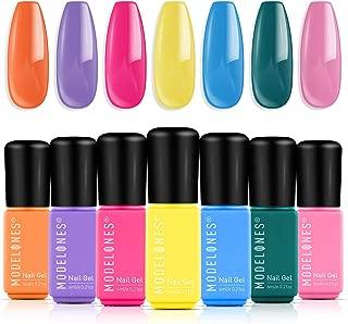 Modelones Gel Nail Polish Set - 7 Color Gel Nail Polish 6ml Mini Size, Candy Summer Series Nail Art Boxes UV LED Soak Off Gel Nail Varnish Starter Manicure set.