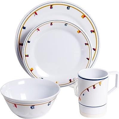 Galleyware Flags 16 Piece Melamine Non-Skid Dinnerware Set