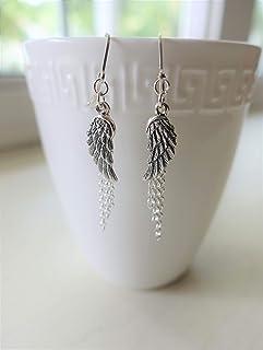 """Sterling Silver Angel Wing Chain Dangle Earrings - 1.5"""" Length"""