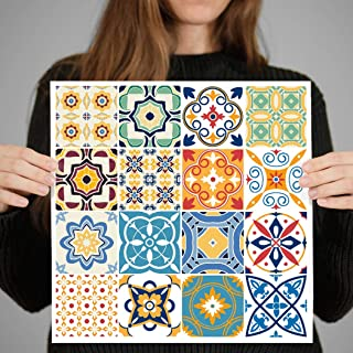 RoyalWallSkins Decorative Tile Decals 4x4 Inch - Set of 16 - Self Adhesive Peel and Stick Tile Stickers for Backsplash Bat...