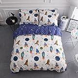 BuLuTu Space Rocket Print Boys Bedding Duvet Cover Queen White Blue Cotton