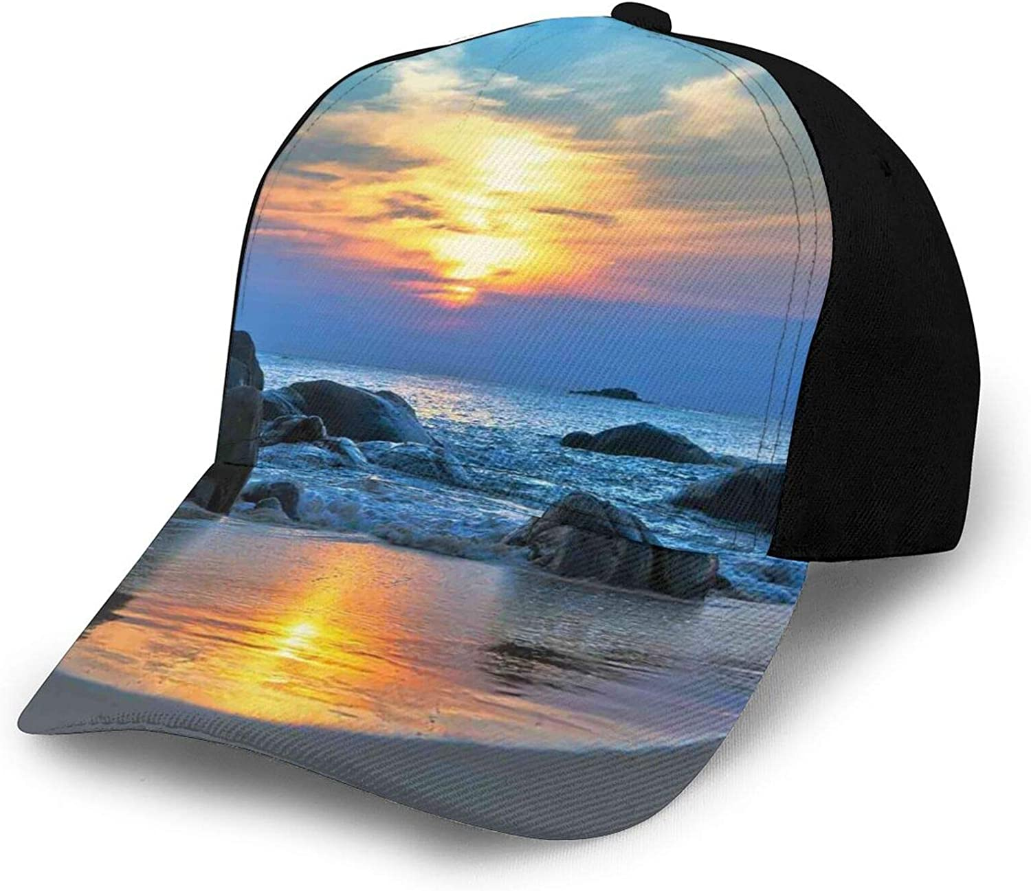 Structured Baseball Cap Sunset Free Shipping New Scenery Year-end gift Rock with Beach Sandy in