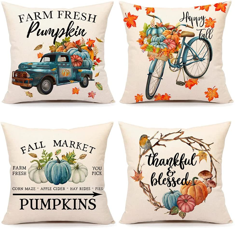 4TH Emotion Fall Decor Pillow Covers 18x18 Set of 4 Thanksgiving Pumpkin Farmhouse Decorations Thankful Blessed Farm Outdoor Fall Pillows Decorative Throw Cushion Case for Home Couch TH031-18