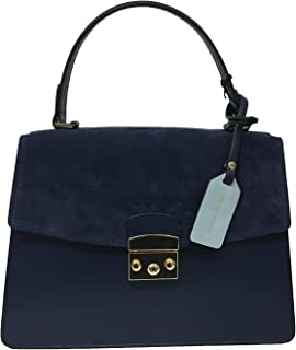 ALMALA linea FEMME ROUGE borsa donna blu mod ASPEN BAG 100% pelle+camoscio MADE IN ITALY