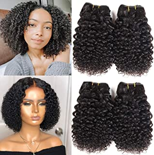 Brazilian Kinky Curly Human Hair Bundles Brazilian Hair Jerry Curls 10A 100% Unprocessed Virgin Brazilian Curly Sew in hair extensions Natural Color 50g/bundle (10 10 10 10)