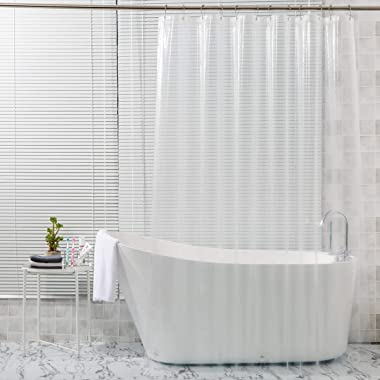 AmazerBath Plastic Shower Curtain, 72 x 72 Inches EVA 8G Shower Curtain with Heavy Duty Clear Stones and 12 Grommet Holes Thi