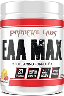 Primeval Labs EAA Max Essential Amino Acids Supplement Powder, BCAAs, EAAs, Electrolytes, Enhance Performance, Support Hyd...