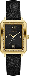 GUESS Factory Women's Black and Gold-Tone Rectangle...