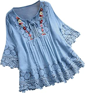 TINGZI Women Tees Vintage Lace Patchwork Bow V-Neck Three Quarter Blouses Top T-Shirt Loose Fit Comfy Tunic