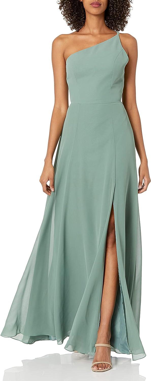 Jenny Yoo Women's Kora Modern One Shoulder Chiffon Dress