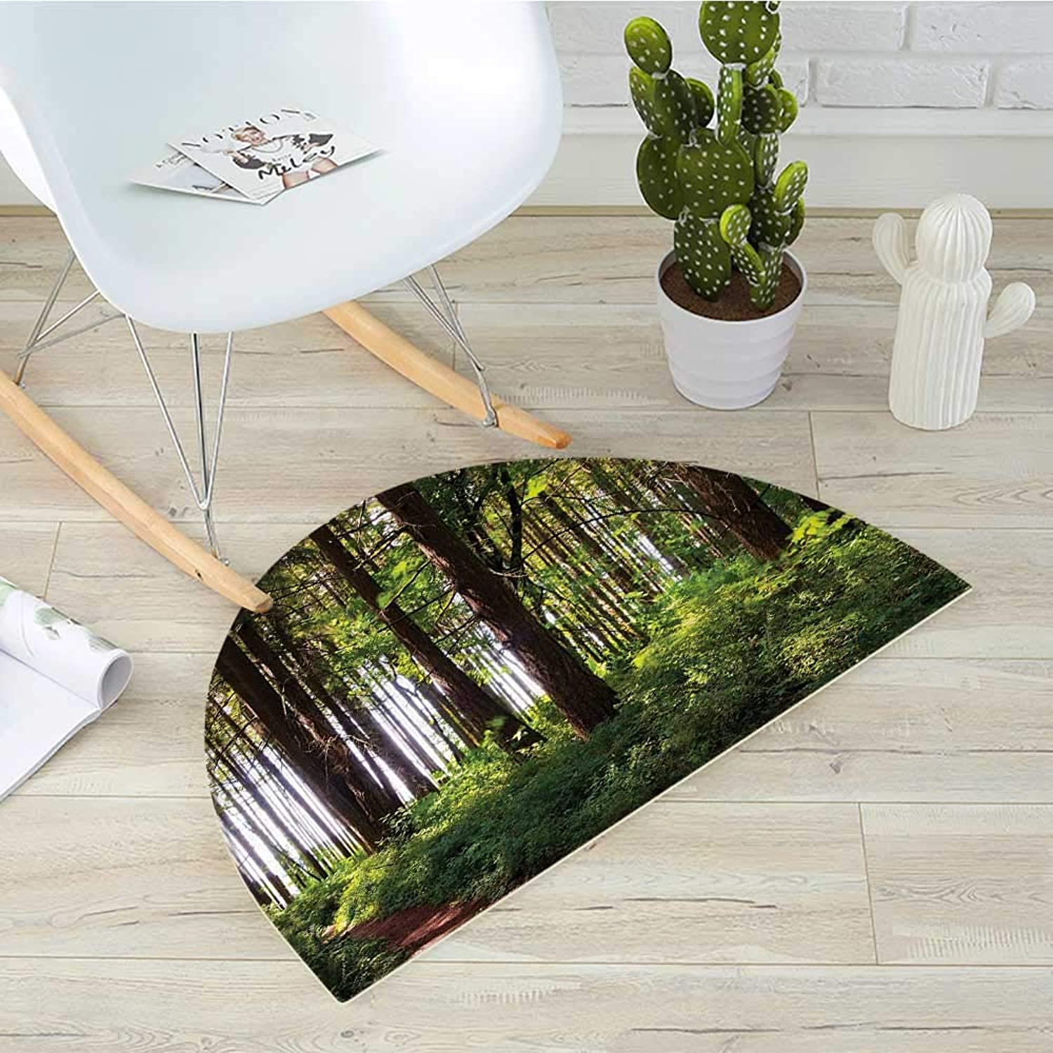 Forest Semicircle Doormat Pathway in a Shady Forest of Bushes and Thick Trunks Grass Unique Wild Life Scenery Halfmoon doormats H 39.3  xD 59  Green Brown