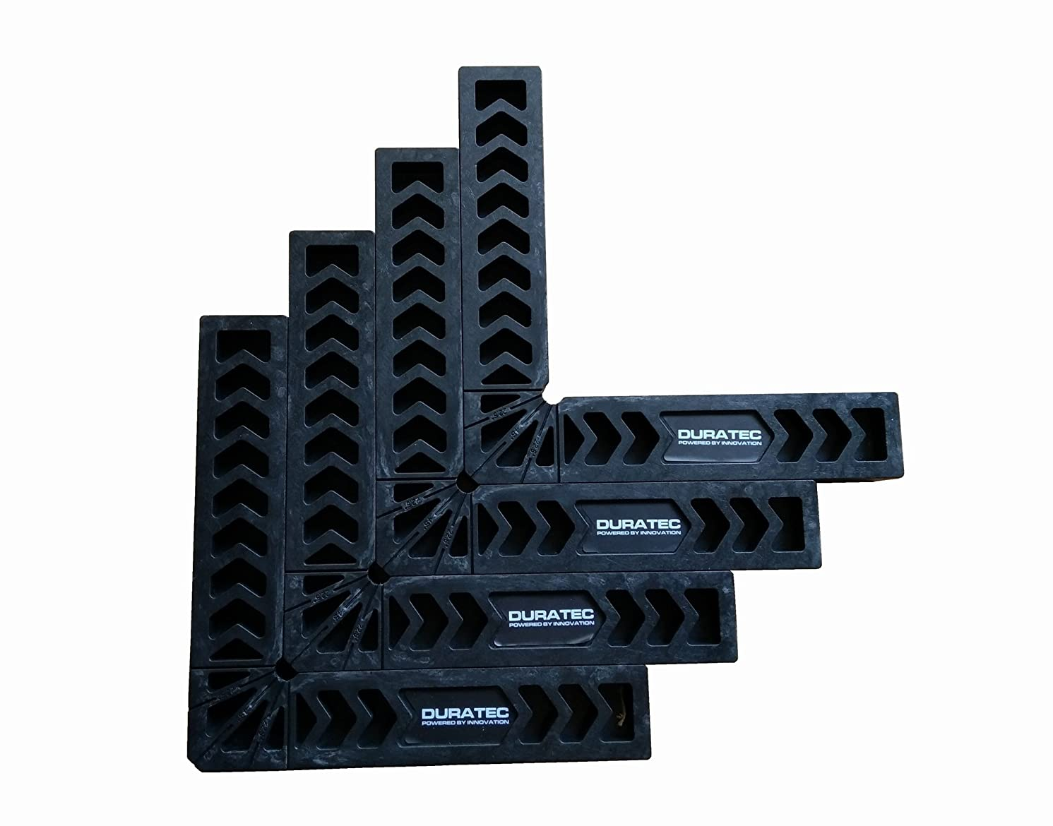 Duratec Positioning Squares, Woodworking Tool, Clamping 90 Degree Angles for Picture Frames, Boxes, Cabinets or Drawers (8 Inch Set of 4, Black)