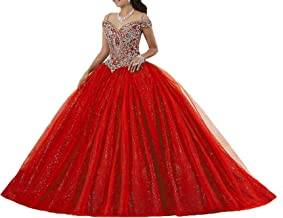 Graceprom Women's Puffy Beaded Crystal Quinceanera Dress Ball Gownress
