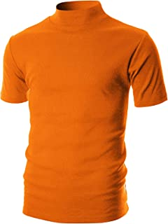OHOO Mens Slim Fit Soft Cotton Short Sleeve Pullover Lightweight Mockneck with Warm Inside