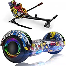 """LIEAGLE Hoverboard with Seat Attachment,6.5"""" Self Balancing Scooter Hover Board with Bluetooth and LED Lights for Kids Adults"""