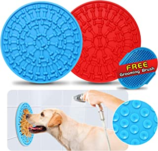 Sponsored Ad - JinFu Cun Dog Lick Mats, 2 Pack [Blue and Red] Slow Feeding Bite Proof Silicone Peanut Butter Treat Pads an...