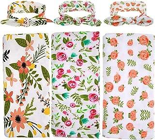 1-3 Pack BQUBO Newborn Floral Receiving Blankets Newborn Baby Swaddling with Headbands or Hats Sleepsack Toddler Warm