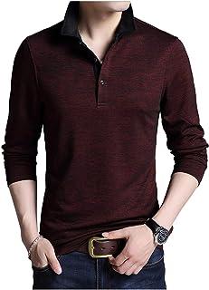 [Limore(リモア)] 襟付き ポロシャツ シンプル デザイン ボタン ロング Tシャツ 大人 スタイル 長袖 カジュアル メンズ