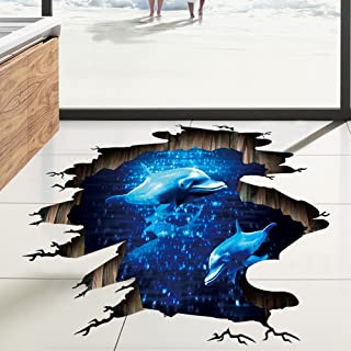 NIHAI 3D Underwater World Animal Floor Wall Sticker, Removable Art Mural Decor for Kids Bedroom Living Room Office, Unique Visual Effect, Looks Realistic and Beautiful (B)
