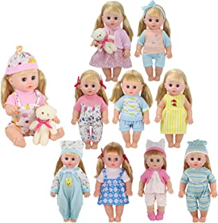 10 Sets for 9-10-11-12 Inch Baby Doll Clothes Reborn Newborn Outfits Costumes with Plush Bear Doll Xmas Gift