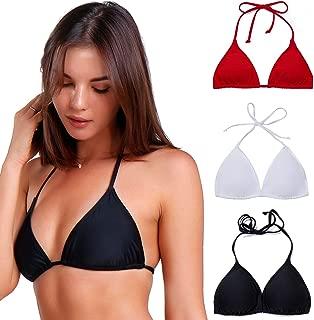 Women Triangle Bikini Top Push up Padded V-Neck Lace-up Basic Swimsuit Top Black White Red