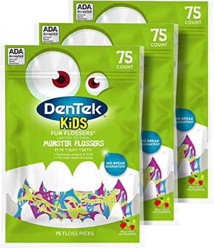 Dentek Kids Fun Flossers with Advanced Fluoride Coating | Removes Food & Plaque | Wild Fruit Flavored Floss Picks | 7...