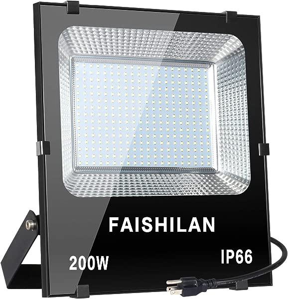 FAISHILAN 200W LED Flood Light 1000W Halogen Equivalent Led Work Light Waterproof IP66 Outdoor Flood Lights Super Bright LED Backyard Lights For Garage Garden Lawn And Yard
