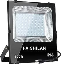 FAISHILAN 200W LED Flood Light, 1000W Halogen Equivalent Led Work Light, Waterproof IP66 Outdoor Flood Lights, Super Bright LED Backyard Lights for Garage, Garden, Lawn and Yard