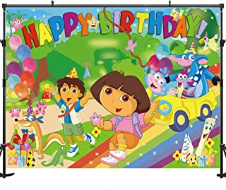 Allenjoy Soft Fabric Birthday Party Photography Backdrop 7x5ft Background Children Happy Birthday Backdrop for Picture Photography Props Party Decorations Banner Photo Background for Studio
