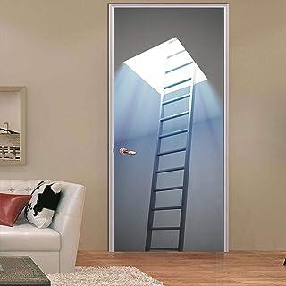 WZKED Mural Para Puerta 3D Escalera De Madera Para Buhardilla Pegatinas De Puerta Decoración Mural De Puerta Pvc Para Baño...