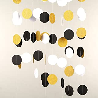 MOWO Glitter Paper Garland Circle Dots Hanging Decor 2'' in Diameter 20-feet in Total (Gold Glitter,Black,White)