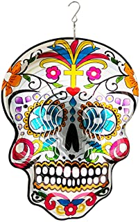 FONMY Kinetic 3D Metal Garden Wind Spinner Quality Hanging Ornament for Home and Garden 12inch Mandala Silver Sugar Skull ...