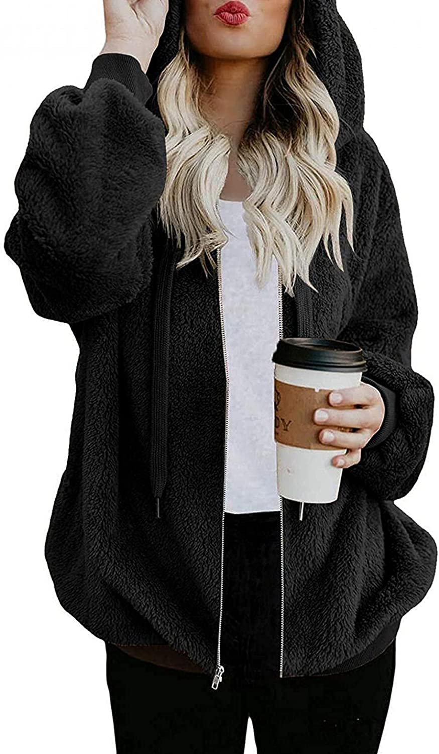 Gibobby Hoodies for Women Pullover Oversized Cozy Fuzzy Sweatshirts Zipper Hooded Casual Drawstring Outwear with Pockets